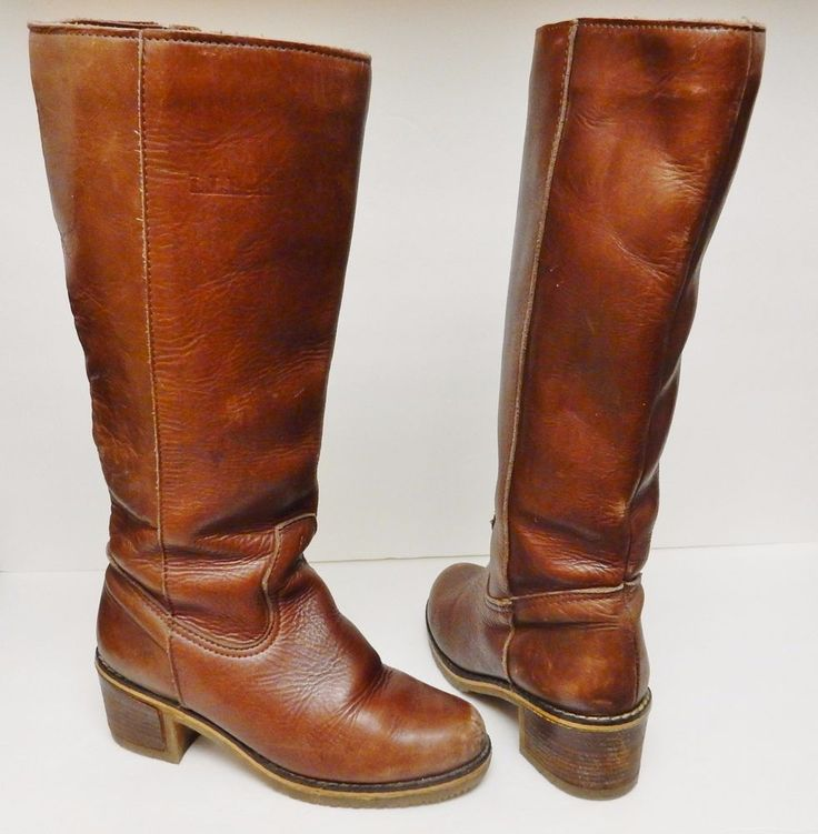VINTAGE L.L. BEAN Boots BLONDO Leather Shearling Lined Knee-Hi Brown Canada 7 #LLBean #KneeHighBoots