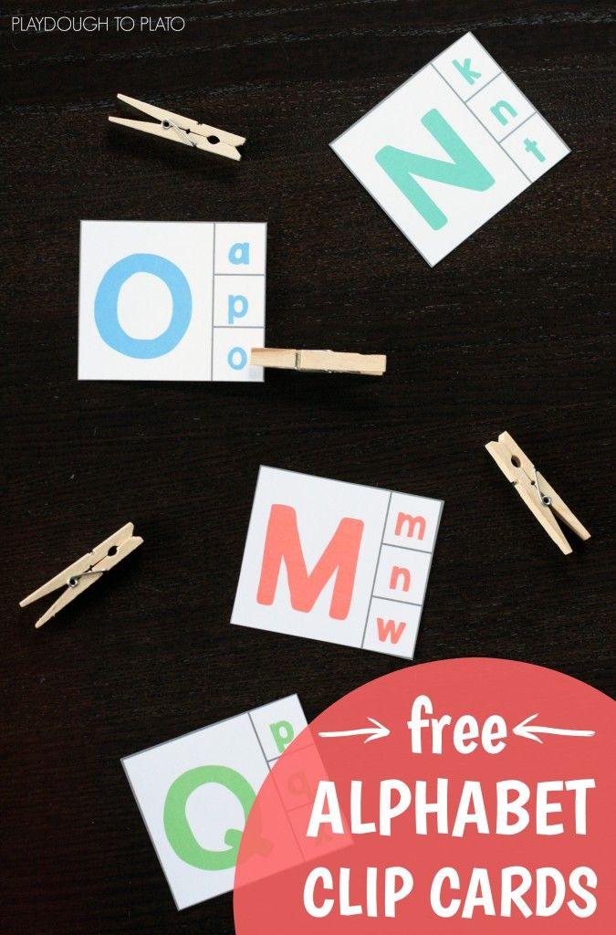 FREE Alphabet Clip Cards. Tarjetas abecedario para relacionar imprenta mayúscula y minúscula.