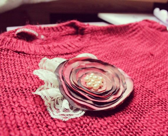 Dark Pink FABRIC FLOWER Handmade Fabric Flower Brooch by Gabiworks