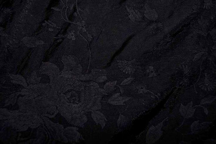 Ptx17 960556-999 Viscose geborduurde bloemen zwart