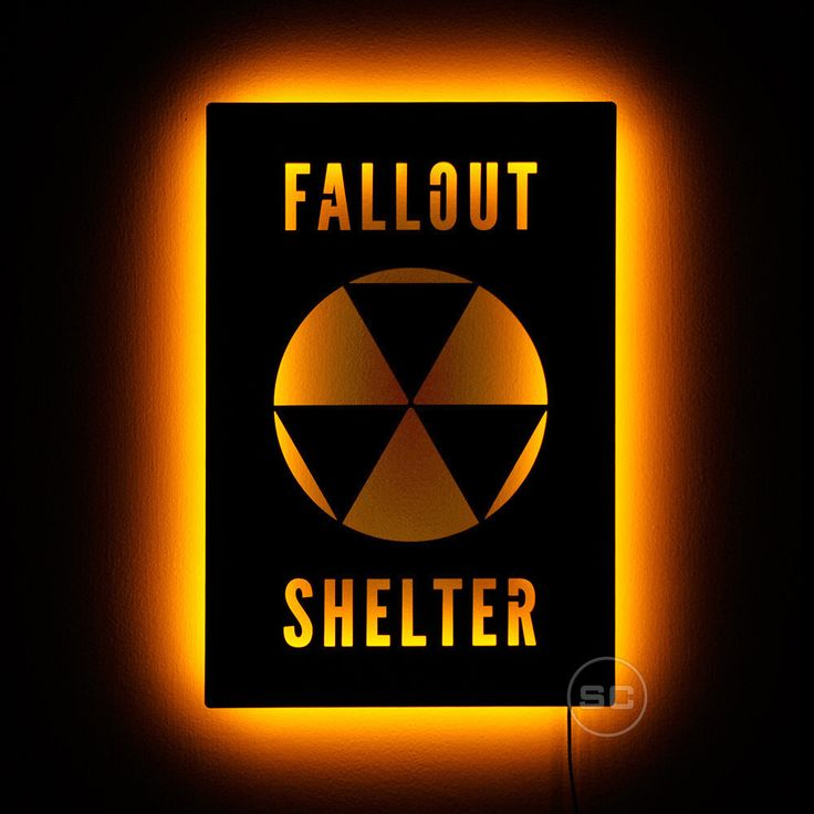 Lighted Fallout Shelter Sign - Nuclear Apocalypse Wall Art and Fallout Night Light by SignsChromatic on Etsy https://www.etsy.com/listing/473464239/lighted-fallout-shelter-sign-nuclear