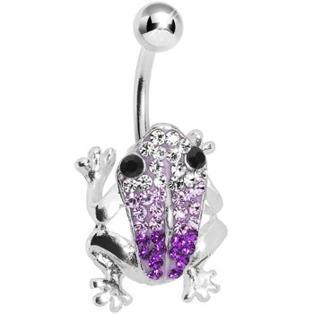 Amethyst Crystal Frog Belly Ring MADE WITH SWAROVSKI ELEMENTS | Body Candy Body Jewelry