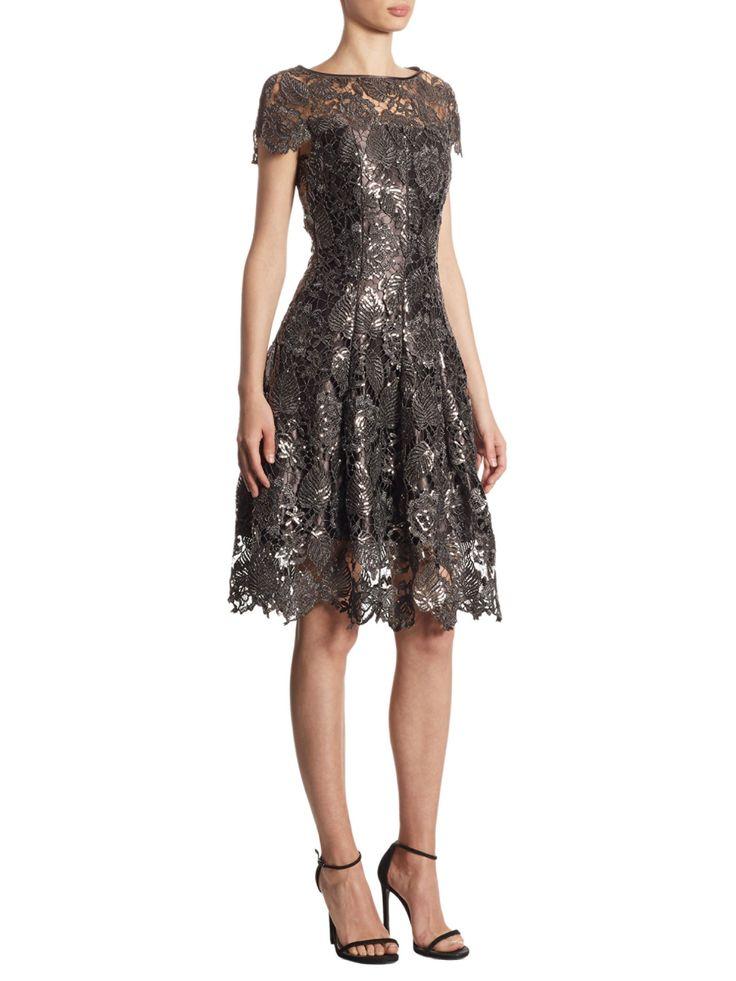 Talbot Runhof Sequin Lace Leaf Dress