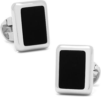 Ox and Bull Trading Co. Silver And Onyx Jfk Presidential Cufflinks.