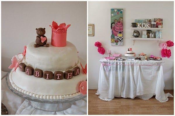 ett kreativt liv: Barnvälsignelse och ett rosa dessertbord. # dessert table cake cakes tårta tårtor våningstårta krona nallebjörn sockerpasta sugarpaste