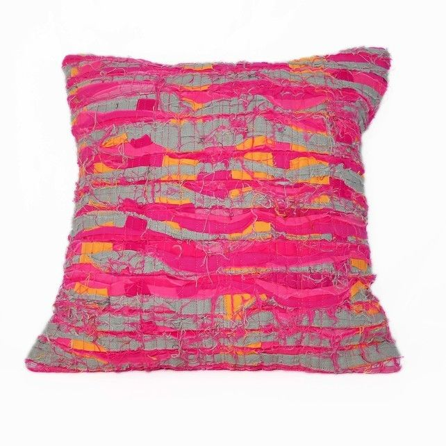 Pink Strata Cushion. Hand crafted textured art cushion by Flamingo Tree in shades of pink orange and grey