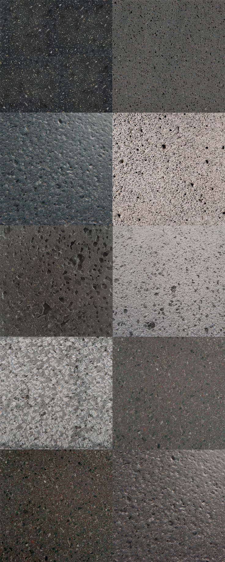 natural lava stone color palette. Lava stone is a natural stone, that is imperfect in its texture and color, which gives it a interesting organic perception. Furthermore, differente shades of gray and brown color, and different tactile characters you could reach through finishes can be used and put together giving visually interesting patterns and design.
