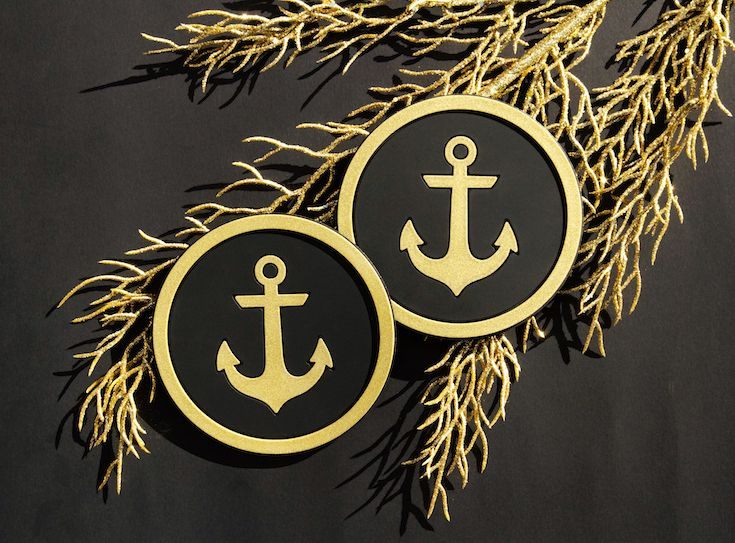 Vessel Coasters Nautical Anchors Aweigh Coaster in Black and Metallic Gold