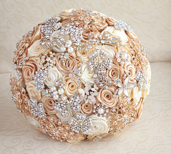 Brooch Bouquet Deposit On A Ivory And Gold Wedding Jeweled