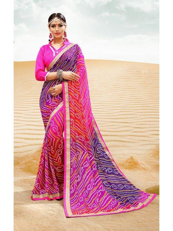 Divine Shaded Deep Blue and Pink Printed Georgette Fashion Bandhej Saree