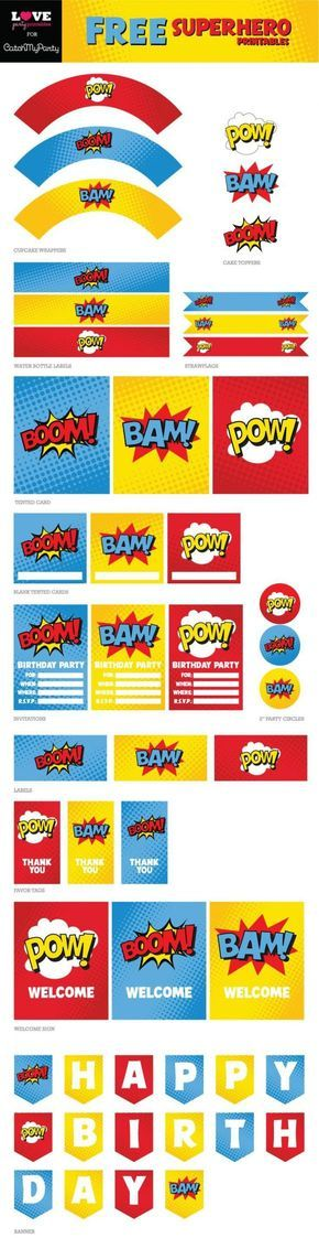 "Free Superhero Party Printables including ""Happy Birthday"" banner, cupcake toppers, invitations, thank you tags, welcome sign, water bottle labels, and more!