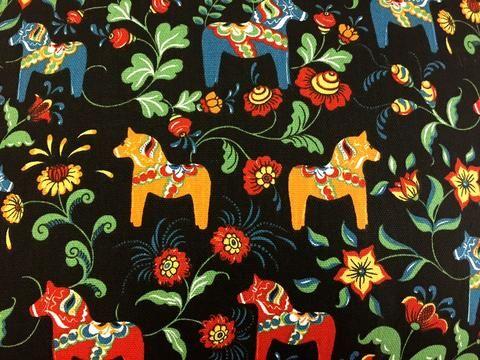 Swedish Dala Horse Black Pillow Case Cover