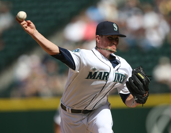 Relief pitcher Carter Capps of the Seattle Mariners pitches against the Cleveland Indians at Safeco Field.