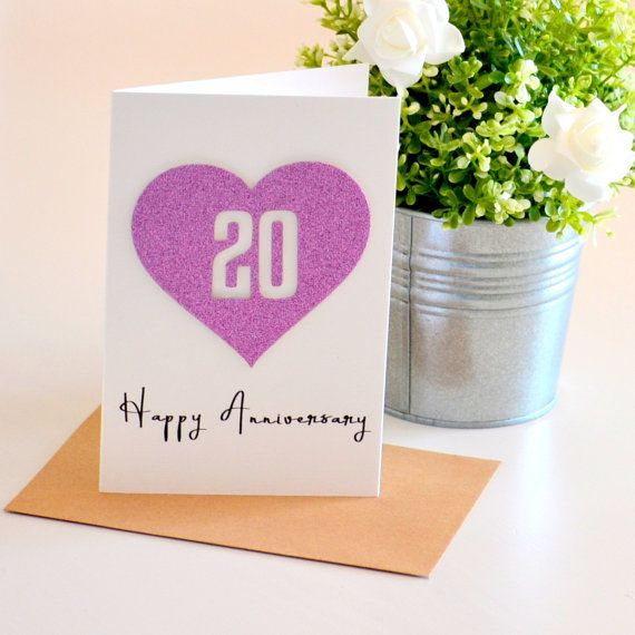 20 Year Anniversary Gift Ideas 20th Card Wedding For Husband Wife Handmade Purple