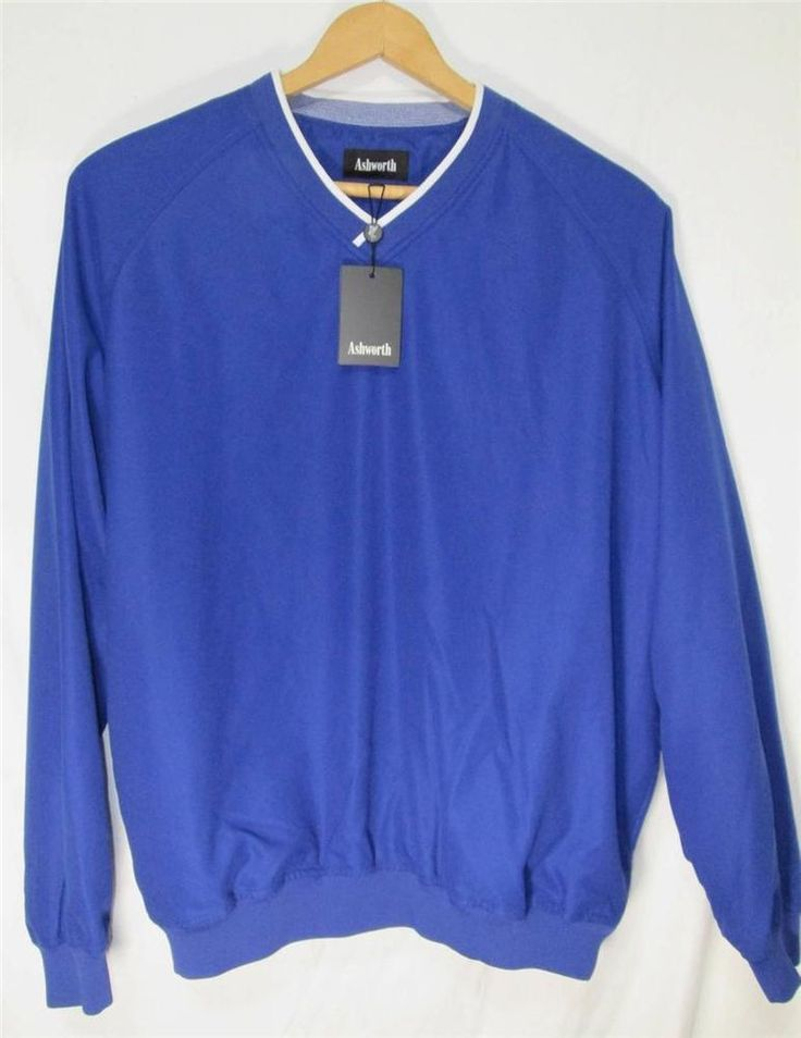 Ashworth Golf Pullover Wind Rain Resistant Nano-Tex Jacket Blue Unworn Tags M #Ashworth