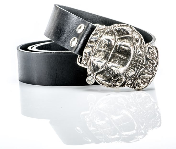 LEATHER BELT DESIGNED WITH SILVER PLATED CROCODILE BUCKLE