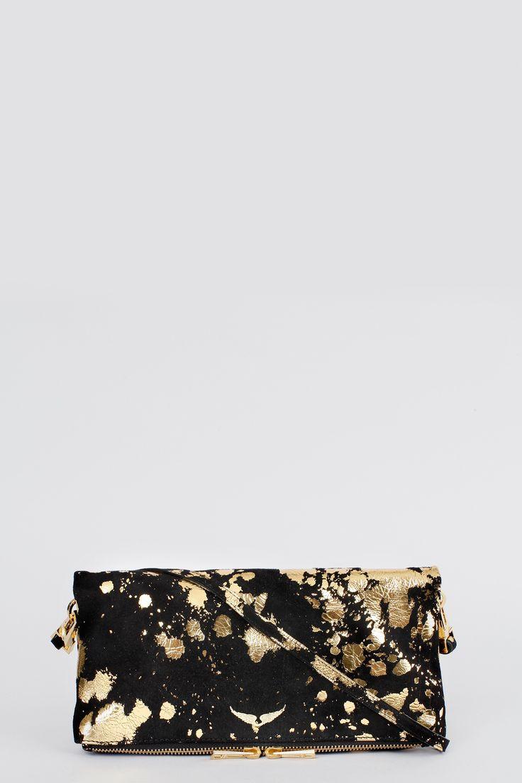 Pochette zippée Zadig et Voltaire, avec une bandoulière amovible, rivet ailes, largeur 27 cm, hauteur 16 cm, profondeur 27 cm, 100% croute de vache