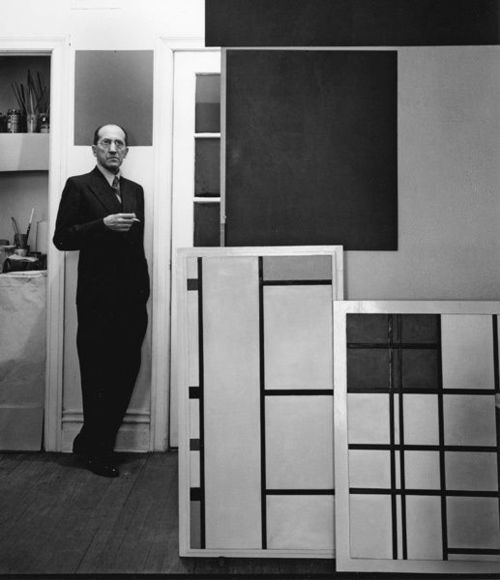 """""""Nature is a damned wretched affair"""" Mondrian w/ his paintings (1937)    his arrangements of asymmetrical rectangles and primary colors, remove all traces of pictorial reality. The balance of opposites creates an order and equilibrium lacking in the natural world. #Neo-Plasticism #DeStijl"""