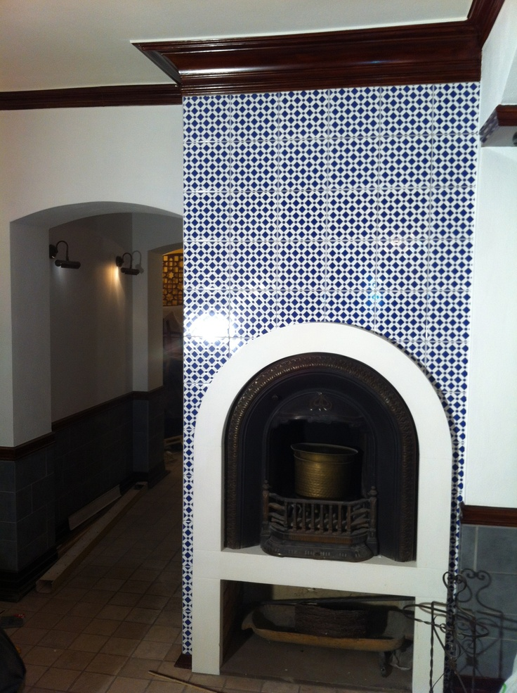 Fireplace with our moroccan tiles in Syriana restaurant in Warsaw