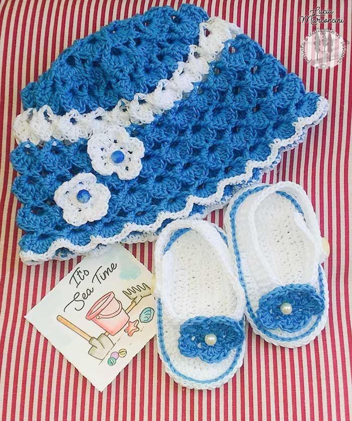 Cappellino ed infrandito: pronta per il mare!!! https://iliveintuscanyistantidiluciamarconcini.com/2017/05/09/cappellino-ed-infrandito-pronta-per-il-mare/ #crochet #uncinetto #babyshoes