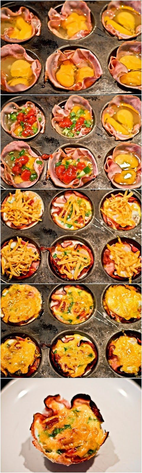 Baked Ham and Egg Cups - can make them in advance... Mmmmm....