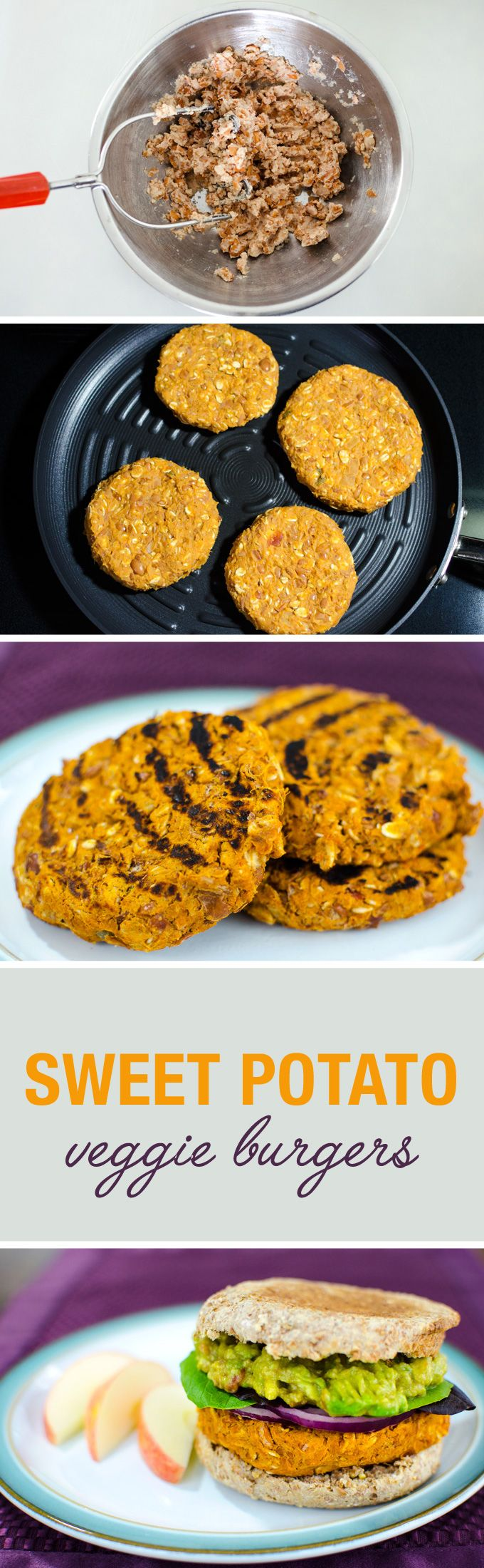 Sweet Potato Veggie Burgers with quick guacamole - a simple vegan and gluten free recipe - YUM! | VeggiePrimer.com