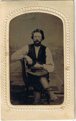 Wyatt Earp about 1872 - 1873. Look close and you can see his holster and gun. 1/6 plate ferrotype in a potters patent frame. Original image from the collection of P. W. Butler.