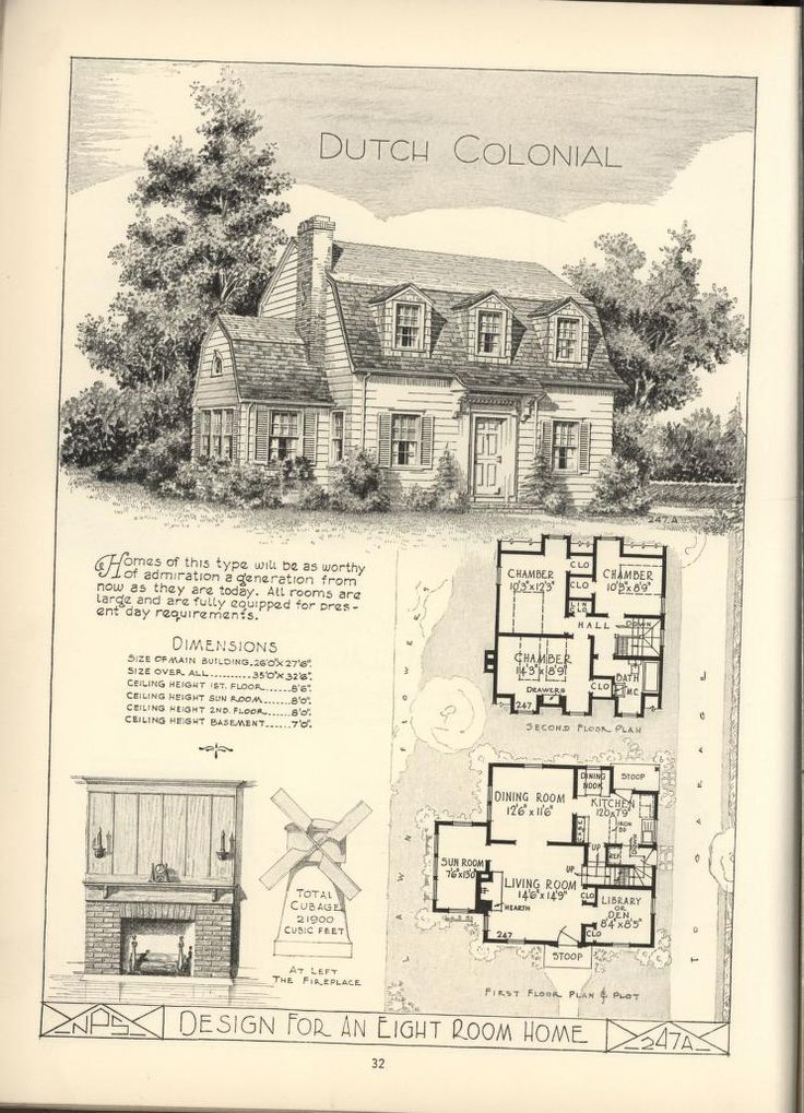 266 best images about vintage home plans on pinterest for Dutch colonial house plans