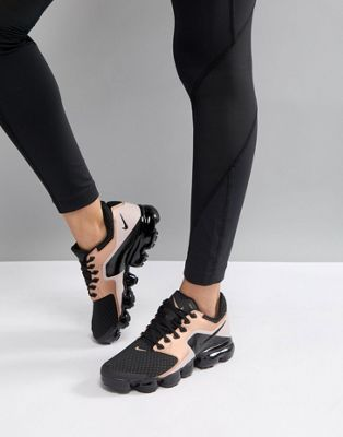 Nike Running Vapormax Mesh Trainers In Black And Rose Gold  1f7850fbe542