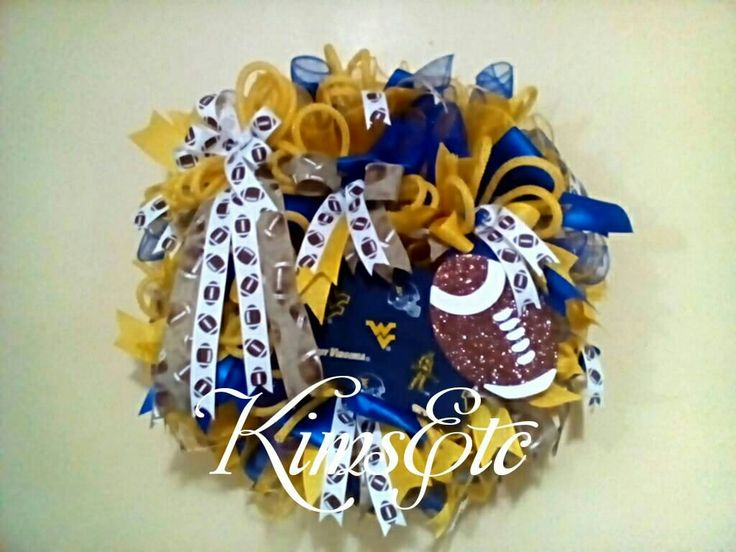 Excited to share the latest addition to my #etsy shop: West Virginia Mountaineer football wreath football ribbon West Virginia motif sign football fan blue and yellow gold school colors football #westvirginia #wvu #blue #yellow #collegefootball http://etsy.me/2jz0u3K