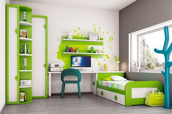 White & green kids modern bedroom furniture