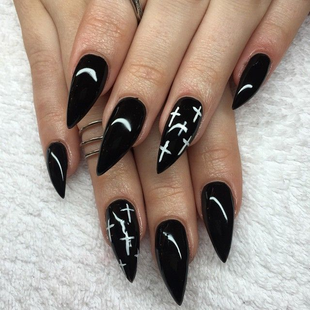 Black Acrylic Stiletto Nails #GK08 – Advancedmassagebysara