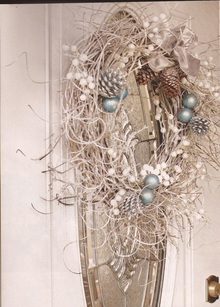 Grapevine Wreath Curly Willow Silver Spray Paint And