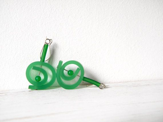 Green round dangle earringsabstract spring spiral by BlackRedDots, $18.00