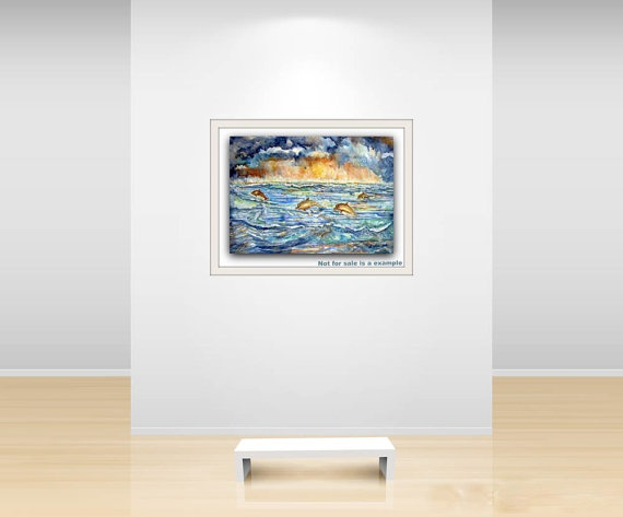 Dolphin  Watercolor on Paper original 36x 51 by ORIGINALsPAINTINGS, €275.00