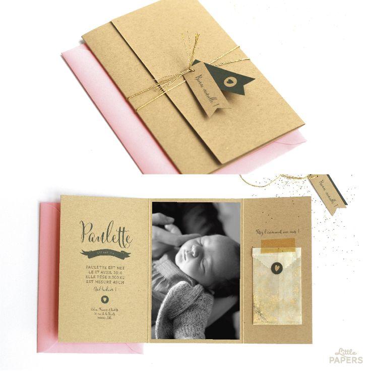 Faire-part naissance - Kraft & Love www.Little-papers.com