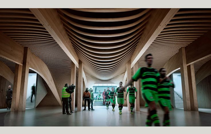 The new construction materials even for large venues – new stadium for Forest Green Rovers in Stroud, UK by Zaha Hadid architects, rendering VA #architecture in #wood