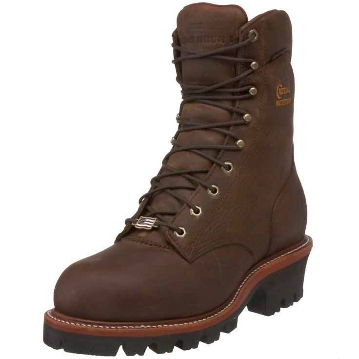 """Chippewa Men's 9"""" Waterproof Steel-Toe Super Logger Boo. On list of """"Best Logger Work Boots"""" Logger work boots good for uneven terrain."""