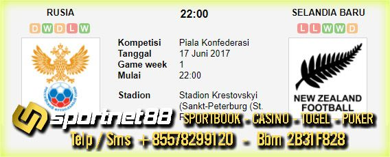 Prediksi Skor Bola Rusia vs Selandia Baru 17 Jun 2017 Piala Konfederasi di Stadion Krestovskyi (Sankt-Peterburg (St. Petersburg)) pada hari Sabtu jam 22:00 live di RTV