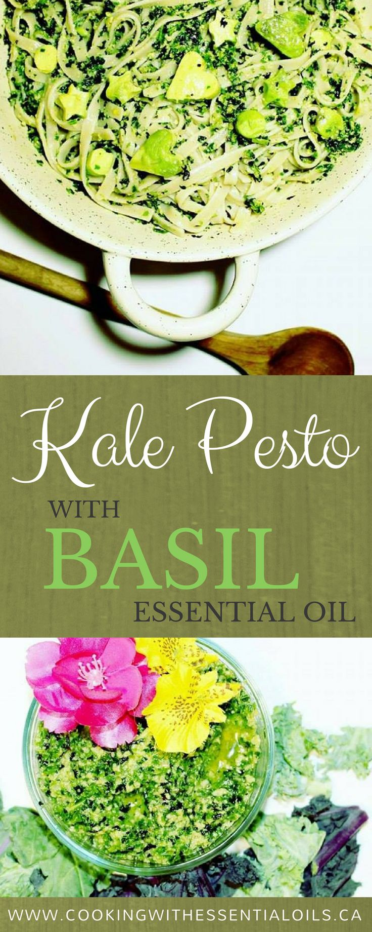 Guest recipe created by Sara  @mshealthesteem from www.mshealthesteem.com who shares a unique and healthy take on a classic pesto dish using kale and basil essential oil. #essentialoils #basil #kale