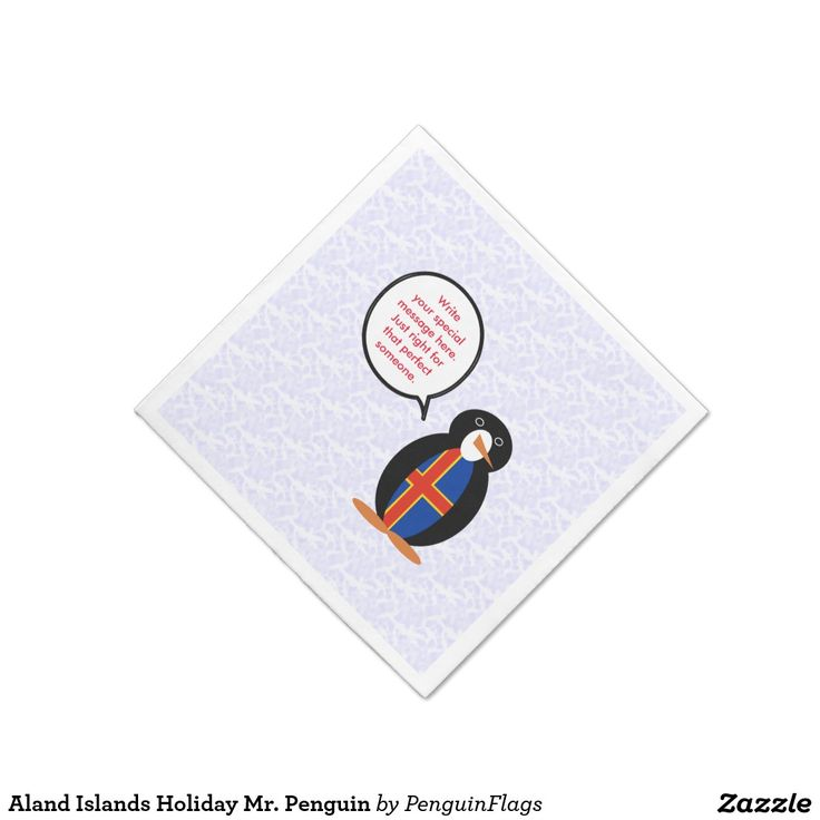 Aland Islands Holiday Mr. Penguin Paper Cocktail Napkin for your party