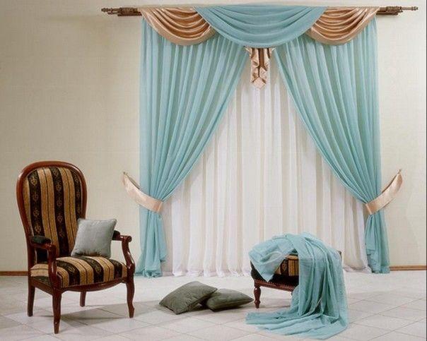 Бирюзовые шторы - современная одержимость