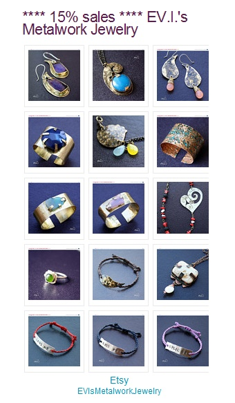 **** 15% sales **** on my etsy shop.... EV.I.'s Metalwork Jewelry