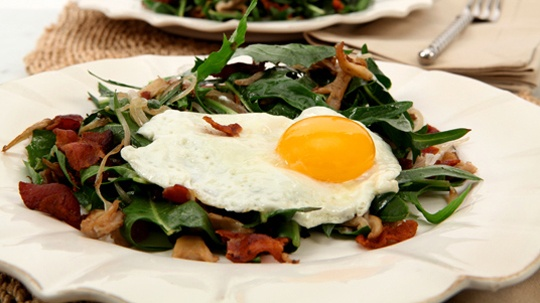 Dandelion Salad with Warm Bacon Mushroom Dressing