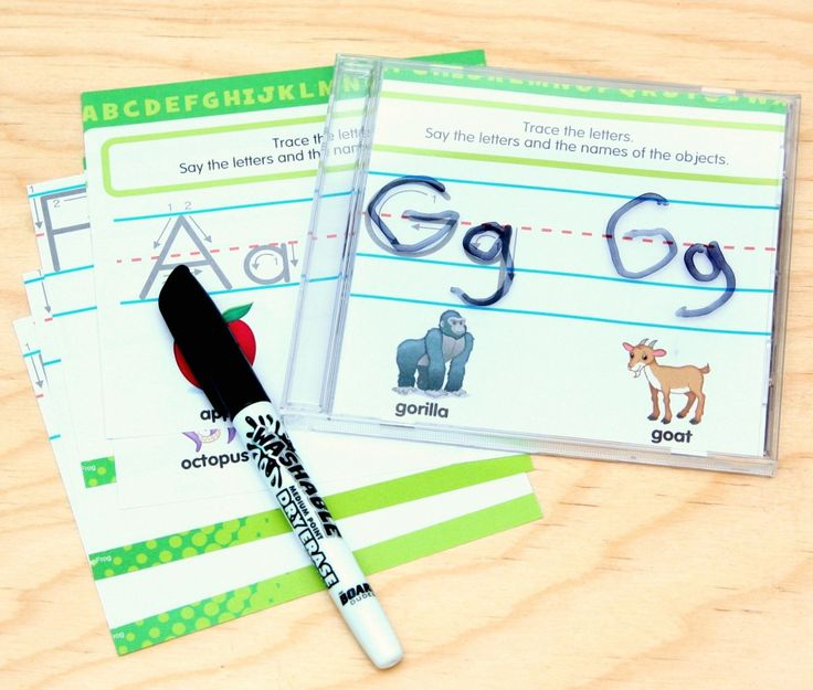 Learn letters and handwriting skills with old CD cases
