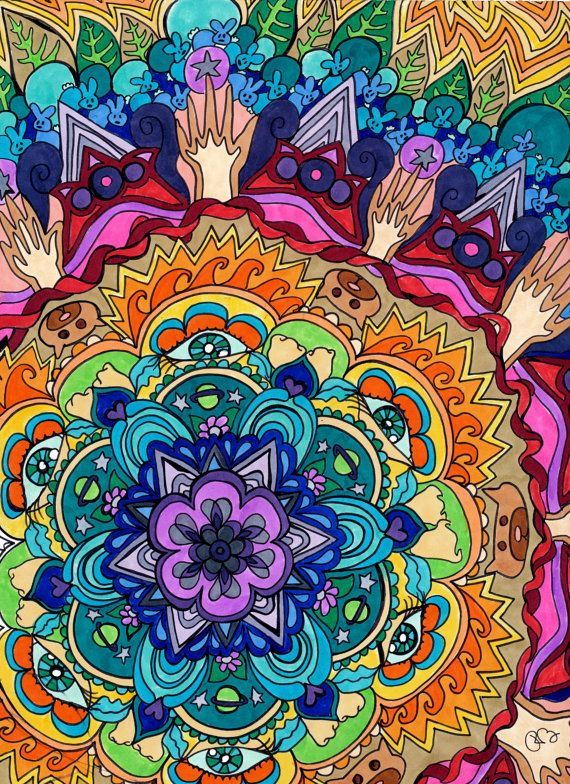 Microcosm Mandala Print  (Psychedelic Rainbow Buddhist Spiritual Colorful Copic Marker and Ink on Bristol Board). via Etsy.