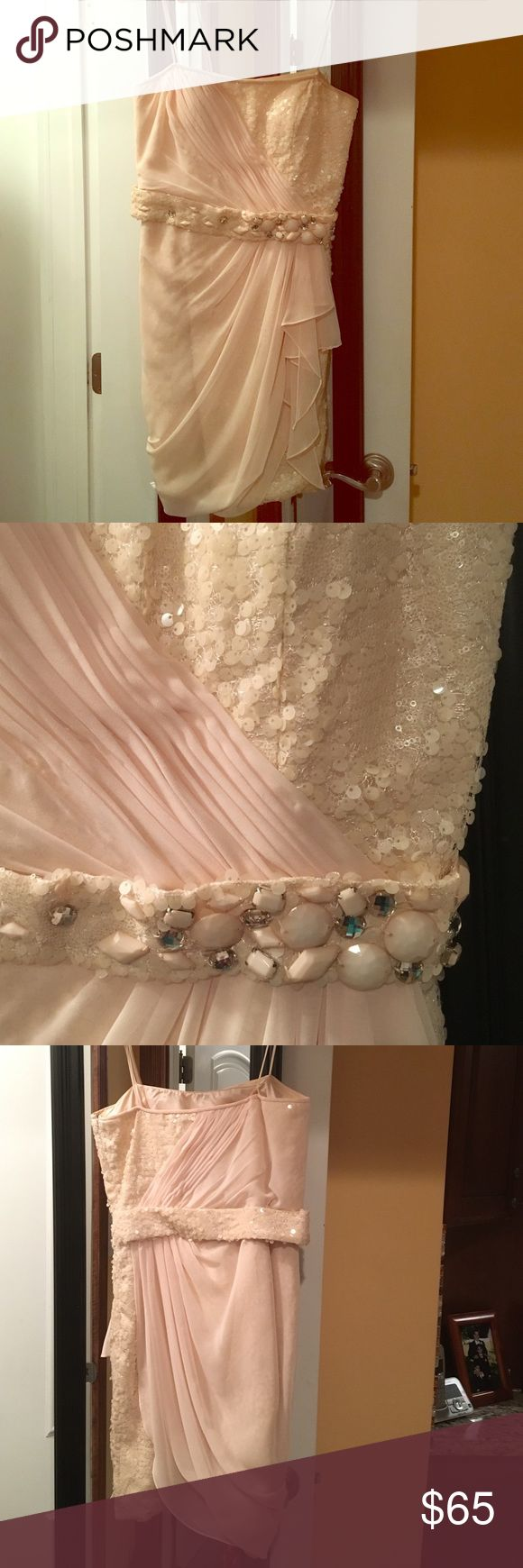 Stunning Pale Pink/Nude Beaded Dress Stunning Pale Pink/Nude Short Dress With Sequins On Bodice And Stones On Belt. Truly Unique! Only Worn Once. Size 12. I Have Since Lost Weight. LM Collection Dresses