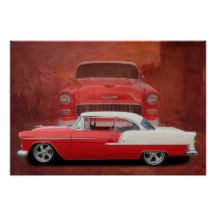 Classic Car Chevy Bel Air Red White Vintage Poster