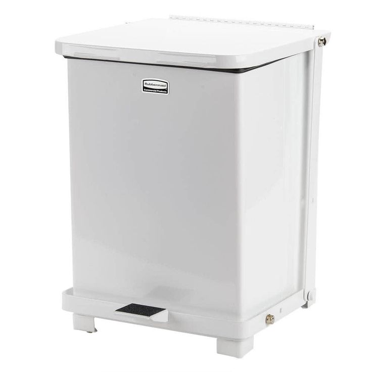 This Rubbermaid FGST7E The Defenders steel white medical step can with retainer bands is the ultimate waste disposal choice for your hospital, doctor's office, or other medical institution. This unit complies with OSHA standards on blood borne pathogens for the safe containment of infectious waste, ensuring the most sterile and safe environment possible.<br><br> Featuring a foot pedal, this unit enables hands free operation, so doctors, nurses or other employees don't need...