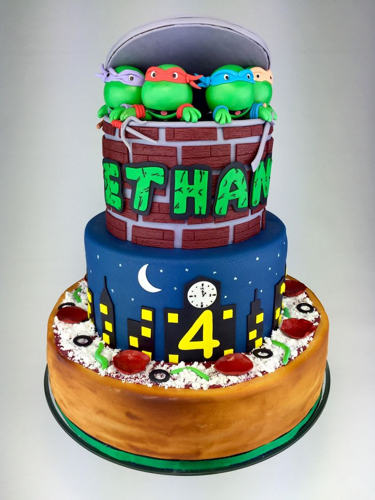 TMNT themed birthday cake designed by Layer After Layer. #tmnt #cake #birthday #leonardo #donatello #raphael #michelangelo #splinter #shredder #turtles #fondant #custom #pizza #cowabunga #cartoon #sugarart #alledible #layerafterlayer